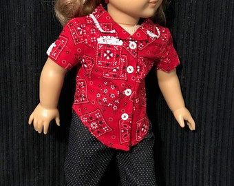 Read-for-summer hankie shirt and Capri pants for your doll.