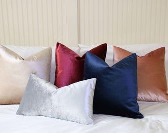 Silk Velvet pillow cover / pink velvet pillow / blue velvet pillow / red velvet pillow / black velvet pillow / velvet pillow gray -VEL5