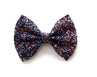 Party Glitter Bow Adorable Photo Prop Pictures Headband for Newborn Baby Little Girl Child Adult Holiday Christmas New Years Navy Sparkly