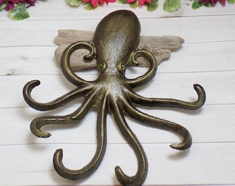 Green Cast Iron Painted Octopus - Octopus Wall Decor - Kraken Wall Decor - Green Octopus - Wall Hooks