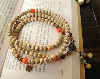 Super mooie Mala Handgemaakt van Lotus Bodhi kralen.