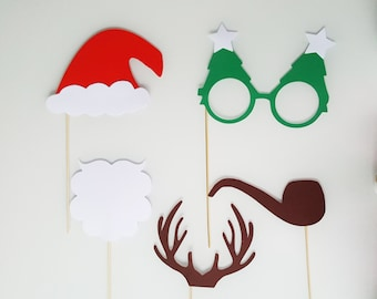 Christmas: Christmas Photobooth _ cerf_barbe_lunette sapin_pipe bonnet_bois