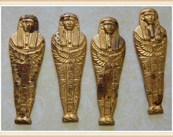 4 pieces sarcophagus (large), brass, raw brass, Egyptian, mummy, embellishment, vintage, #E001