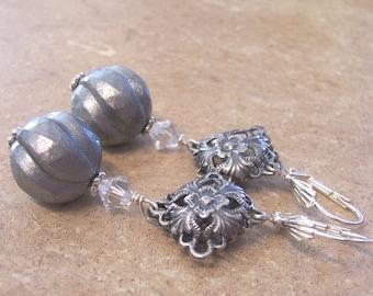 Vintage perles Boucles d'oreilles argent
