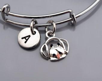 Dog bracelet, Dog bangle, Dog face charm, Dog outline, Expandable bangle, Personalized bracelet, Charm bangle, Monogram, Initial bracelet