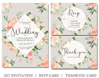 Watercolor Floral printable wedding invitation, matching rsvp and thank you cards, Peach flowers on any background, wedding or any occasion