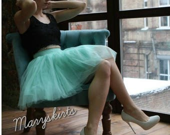 Tulle skirt with matching lining, fixed waistband with hidden zipper (color - Mint)