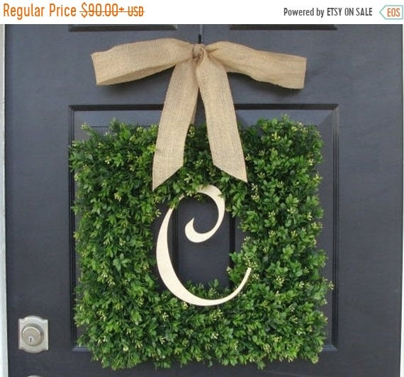 SUMMER WREATH SALE Monogram Boxwood Wreath, Boxwood Monogram Wreath with Burlap Bow, Housewarming Gift, Wedding Wreath 16-22 Inch Wreath ava