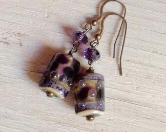Purple Glass Beaded Earrings, Murano Glass, Lampwork
