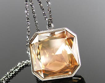Golden Champagne Swarovski Crystal Necklace, Gold Crystal Pendant Necklace, Dark Oxidized Sterling Silver Chain, Square Crystal Jewelry