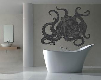 Octopus Wall Decal Kraken Decal Sea Animals Octopus Vinyl Wall Decals Nautical Wall Decals Bedroom Bathroom Decor kik1210