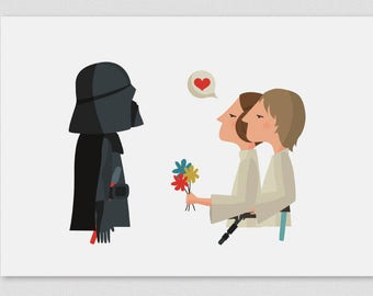 Illustration, Print, Happy Father's Day (Leia & Luke). Star Wars, Tutticonfetti, Wall art, Art decor, Hanging wall, Printed art, Decor home