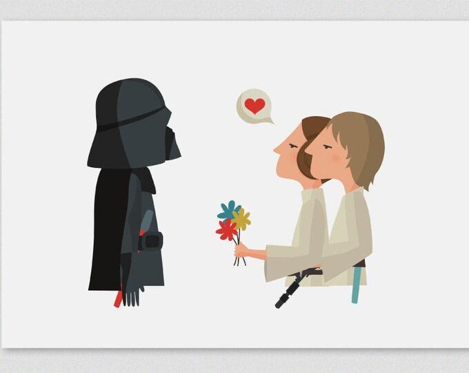 """Ilustración """"¡Felicidades, papá! (Luke & Leia)"""". Basada en La Guerra de las Galaxias."""