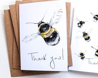 Mini 'Thank You' Cards - bees - Pack of 5