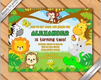 50% OFF SALE - Jungle Birthday Invitation printable - Safari Invitation Zoo, Invitation Boy Birthday Invite - Safari Birthday #10