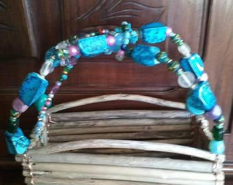 Driftwood: bag wood floats and beads blue