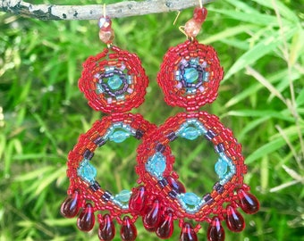 Earrings red and blue sky miyuki-red glass drops