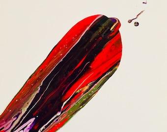 Rocket Crash acrylic painting on 12x12 canvas