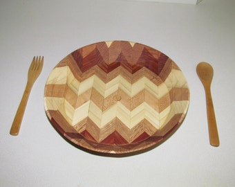 Wooden Herring bone design bowl