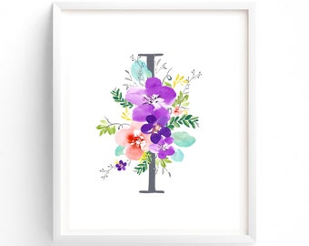 Purple Floral Printable Letter I Monogram, Floral, Grey letters,  Flower Lettering, Nursery, Plum, Purple, Baby monogram