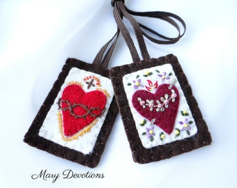 Embroidered and Appliqued Brown Scapular
