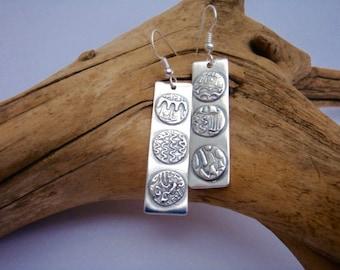 Mini Mandalas Earrings - PMC - Fine Silver Textured Circles - Rectangle Dangle Earrings