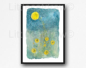 Firefly Print Fireflies In The Starry Night Watercolor Painting Print Firefly Wall Art Print Watercolour Lightning Bug Home Decor Wall Decor
