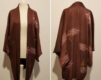 Vintage long Haori in brown / Kimono jacket in silk / Haori brown / Silk jacket / vintage kimono jacket / Vintage silk jacket / Haori