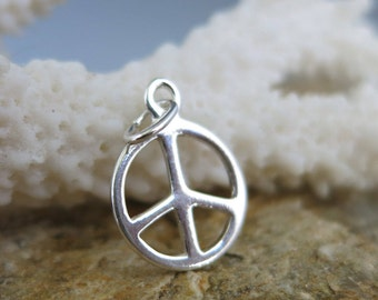 PEACE SIGN CHARM, Sterling Silver 14X11mm and Jumpring, Ready to Ship!