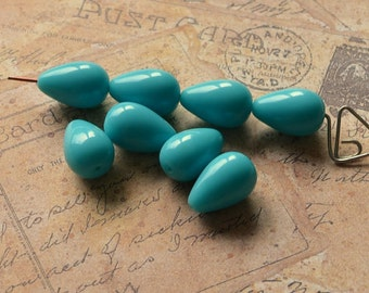 10 Aqua Turquoise Vintage Lucite Beads Teardrop West Germany Pear Shape