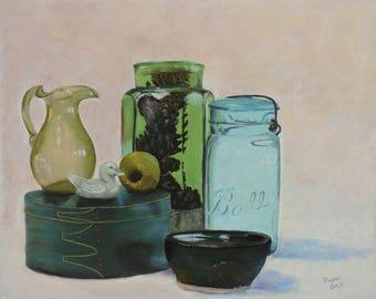 Fine Art Painting Pastels Still Life of Green Jars Ball Jar