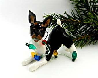 Rat Terrier Toy Fox Terrier Porcelain Christmas Ornament Figurine Lights
