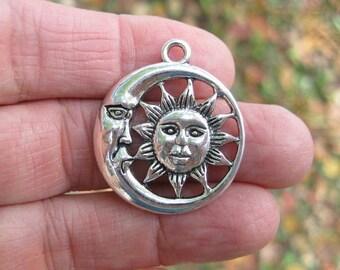 5 Moon Sun Charms in Silver Tone - C2494