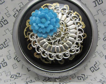 Compact Mirror Rosey Blue Comes With Protective Pouch Gift For Her