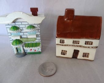 Craft Supplies - Miniature Houses; One Wooden One Ceramic