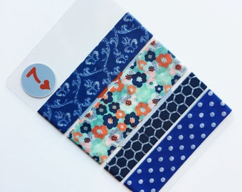 "Washi Tape Sample Card - Blue - Set Of Four - 24"" Each - 96"" Total - Crafting Tape - Masking Tape"
