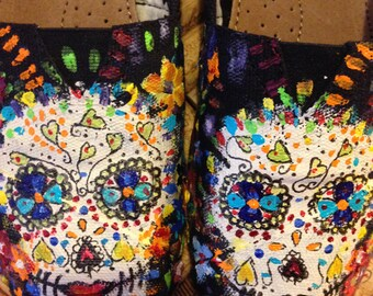 READY to SHIP Sugar Skulls Day of the Dead hand painted custom TOMS size 7 custom toms ask for other sizes catrina halloween dia de muertos