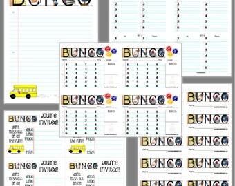 School Days Bunco Printable Set, Bunco Score Cards & Tally Sheet, Instant Download, Editable Bunco Invites