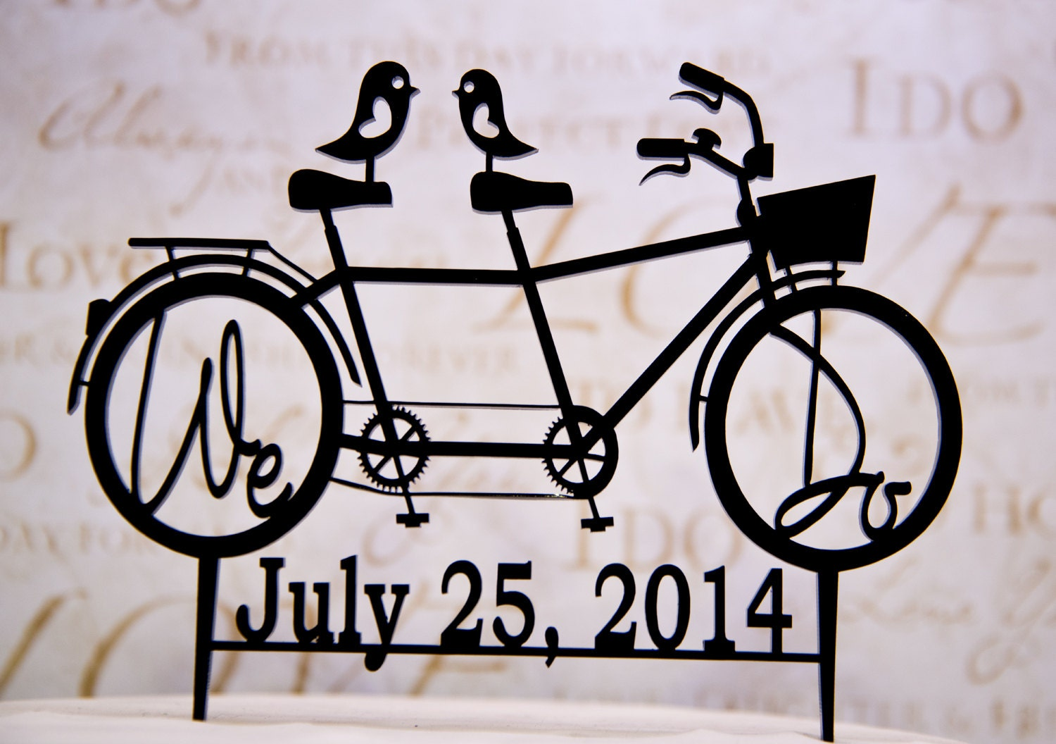 Bicycle for Two Wedding Cake Topper with We Do Your Wedding