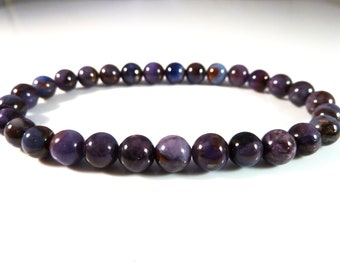 Sugilite Stretch Bracelet Genuine Smooth Round 6mm Gemstone Beads Deep Purple Royal Blue Polished High Quality Natural Untreated