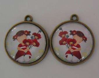 Set of 2 pendants 20mm on support(medium) cabochon bronze