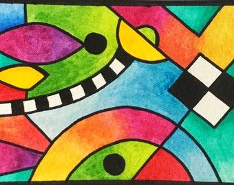 ATC ACEO - Original watercolour abstract trading card by Amanda Hone
