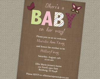Butterfly Baby Shower invitation, butterflies, digital, printable file