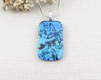 Dichroic Butterfly Pendant - Blue Dichroic Glass Pendant - Black and Blue Handmade Fused Glass Pendant - Handmade Dichroic Glass Jewelry