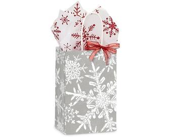 "12 Small Christmas Snowflake Paper Gift Bags, Snowflake Gift Bags .  5-1/4""x3-1/2""x8-1/4"" Rose"