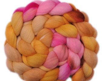 Hand dyed roving - 19μ Merino wool combed top spinning fiber - 4.0 ounces - Awake & Sing 1