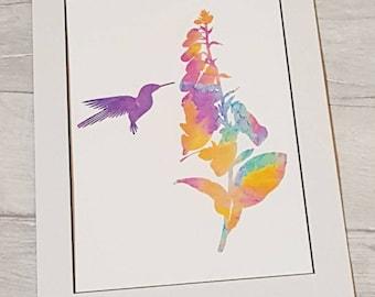 Bright watercolour abstract digital art print – liquid lunch - foxglove hummingbird - 8x10 - nature - purple, blue, red, multi-coloured