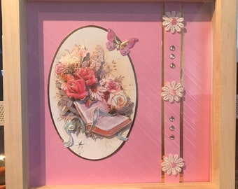 Shadow Box Frame with decoupage picture (pine)