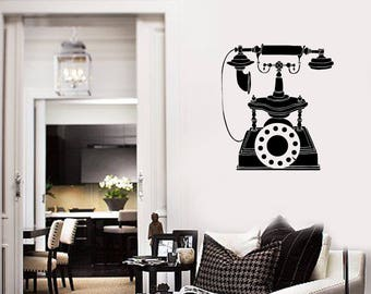 Vintage Phone Vinyl Wall Decal Antique Living Room Home Decor Art Stickers Mural (#2666di)