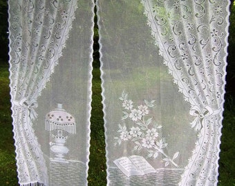 """Two Pictorial Book Lamp Long Vintage French White Net Curtains 30 &  23 x 62"""" long"""